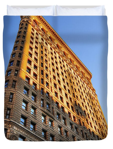 Flatiron Building Profile Too Duvet Cover by Randy Aveille