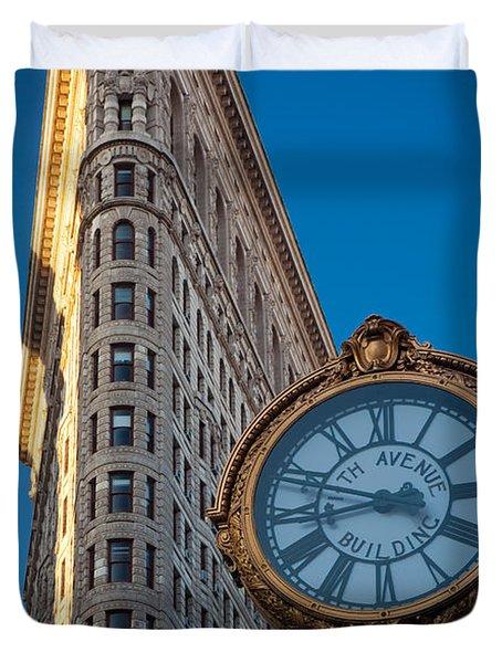 Flatiron Clock Duvet Cover by Inge Johnsson