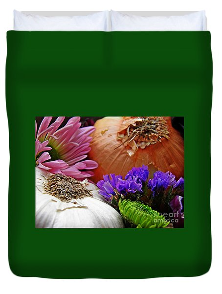 Flavored with Onion and Garlic Duvet Cover by Sarah Loft