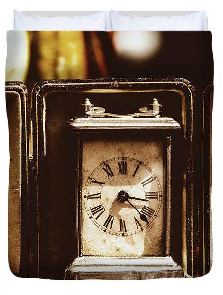 Flea Market Series - Clock Duvet Cover by Marco Oliveira