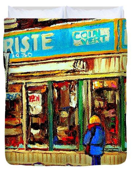 Fleuriste Notre Dame Flower Shop Paintings Carole Spandau Winter Scenes Duvet Cover by Carole Spandau