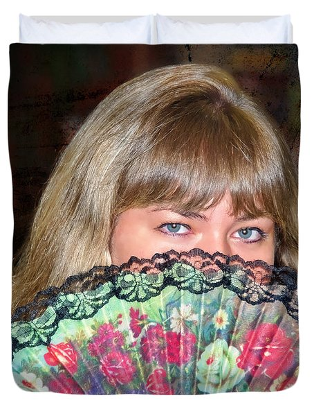 Flirting With The Fan Duvet Cover by Mariola Bitner
