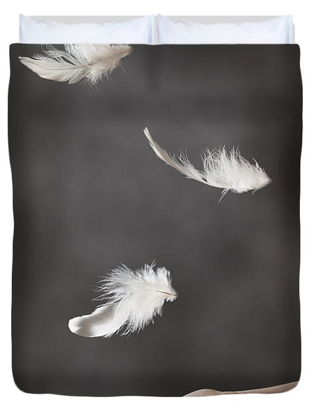 Floating Feathers Duvet Cover by Amanda Elwell