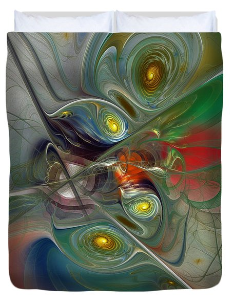 Floating Lightness-Abstract Art Duvet Cover by Karin Kuhlmann