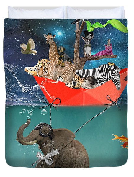 Floating Zoo Duvet Cover by Juli Scalzi