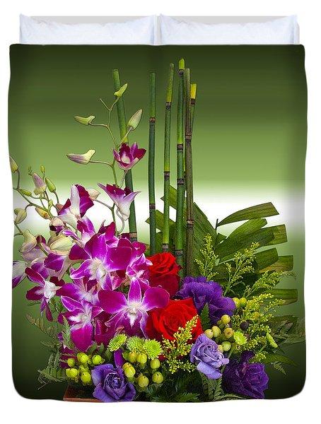 Floral Arrangement - Green Duvet Cover by Chuck Staley
