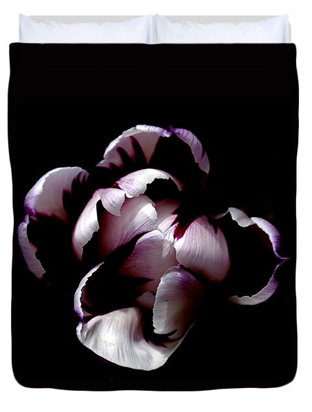 Floral Symmetry Duvet Cover by Rona Black