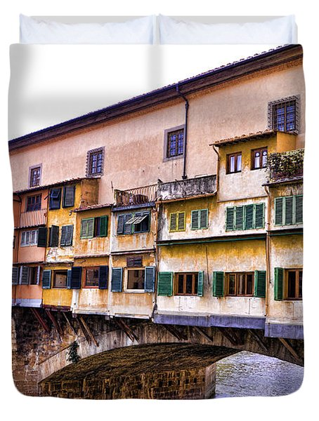 Florence Italy Ponte Vecchio Duvet Cover by Jon Berghoff