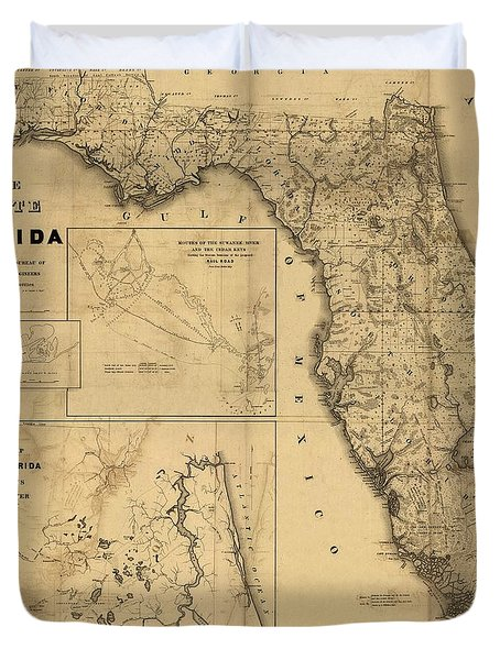 Florida Map Art - Vintage Antique Map Of Florida Duvet Cover by World Art Prints And Designs