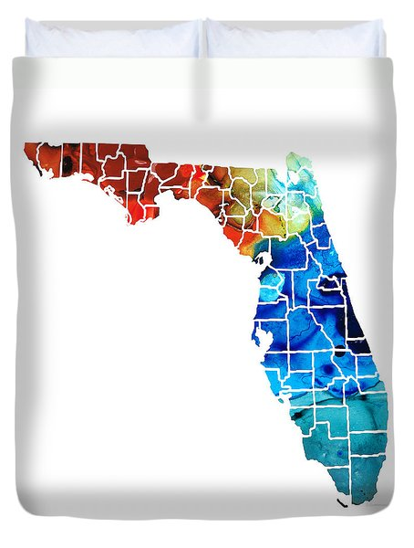 Florida - Map By Counties Sharon Cummings Art Duvet Cover by Sharon Cummings