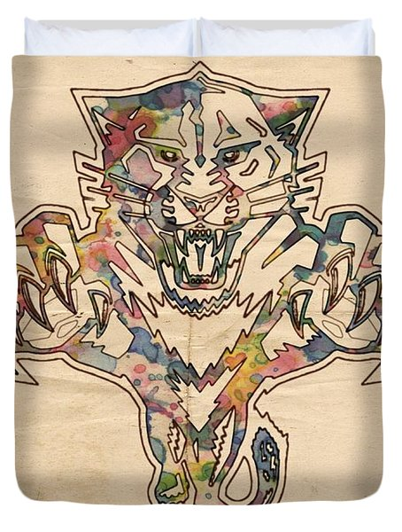 Florida Panthers Hockey Poster Duvet Cover by Florian Rodarte