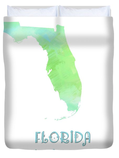 Florida - Sunshine State - Map - State Phrase - Geology Duvet Cover by Andee Design