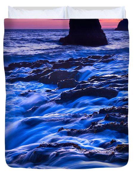 Flow - Dramatic Sunset View Of A Sea Stack In Davenport Beach Santa Cruz. Duvet Cover by Jamie Pham