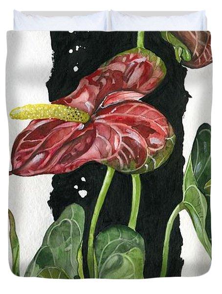 Flower Anthurium 01 Elena Yakubovich Duvet Cover by Elena Yakubovich