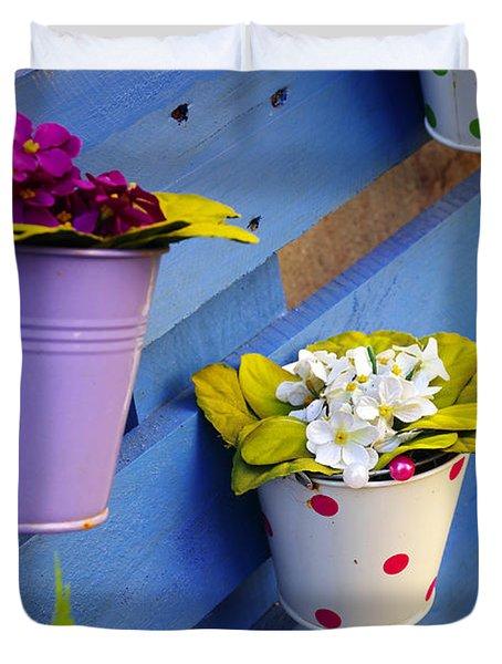 Flower Baskets Duvet Cover by Carlos Caetano