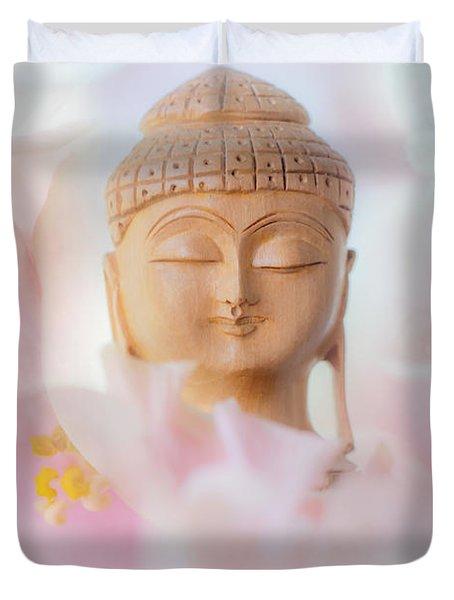 Flower Buddha 3 Duvet Cover by Jenny Rainbow