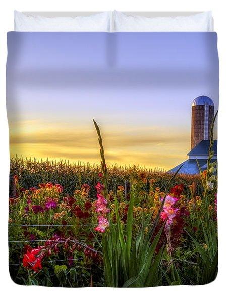 Flower Farm Duvet Cover by Mark Papke