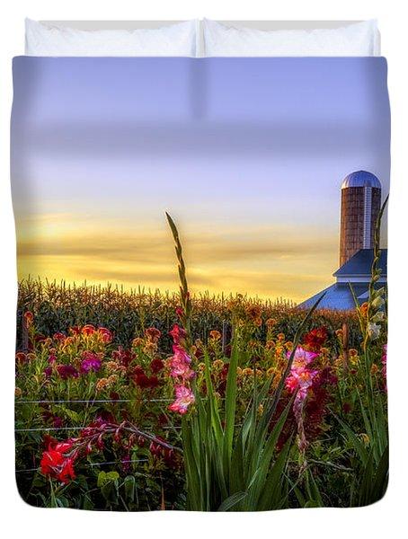 Flower farm Duvet Cover by Mark Papke
