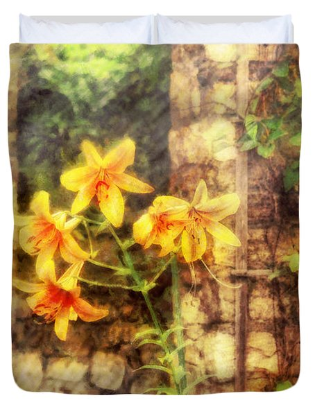 Flower - Lily - Yellow Lily Duvet Cover by Mike Savad