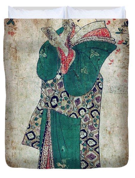 Flower Of Japan C. 1804 Duvet Cover by Daniel Hagerman