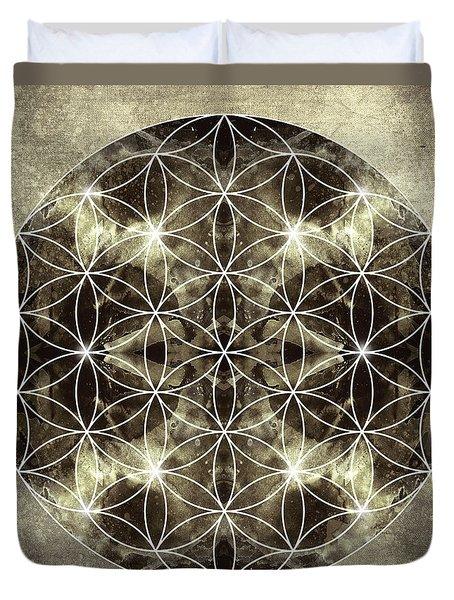 Flower of Life Silver Duvet Cover by Filippo B