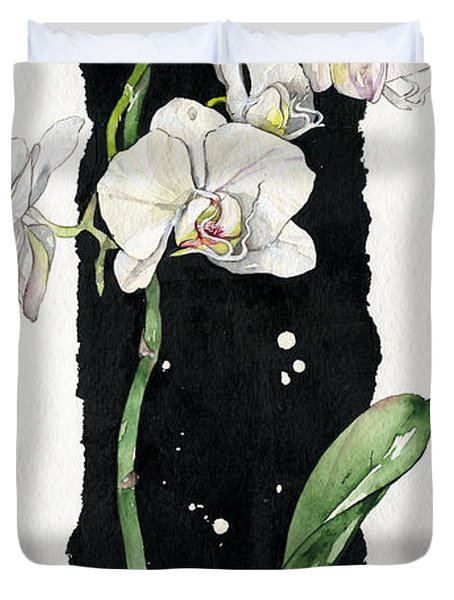 Flower Orchid 05 Elena Yakubovich Duvet Cover by Elena Yakubovich