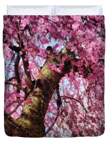 Flower - Sakura - Finally it's Spring Duvet Cover by Mike Savad