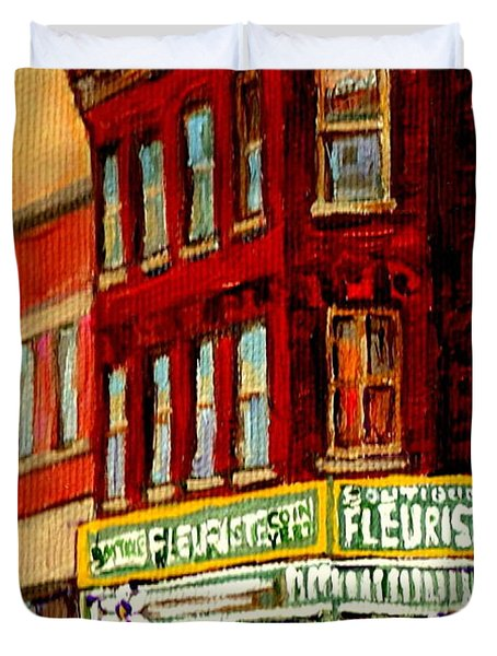 Flower Shop Painting Boutique Coin Vert Fleuriste Montreal Central 3403 Rue Notre-dame Scenes  Duvet Cover by Carole Spandau