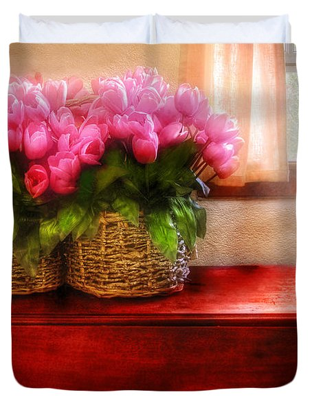 Flower - Tulips by a Window Duvet Cover by Mike Savad