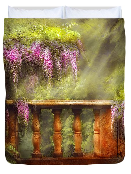 Flower - Wisteria - A Lovers View Duvet Cover by Mike Savad