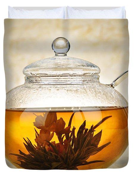Flowering blooming tea Duvet Cover by Elena Elisseeva