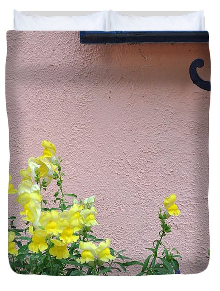 Flowers And Window Frame Duvet Cover by Bruce Gourley
