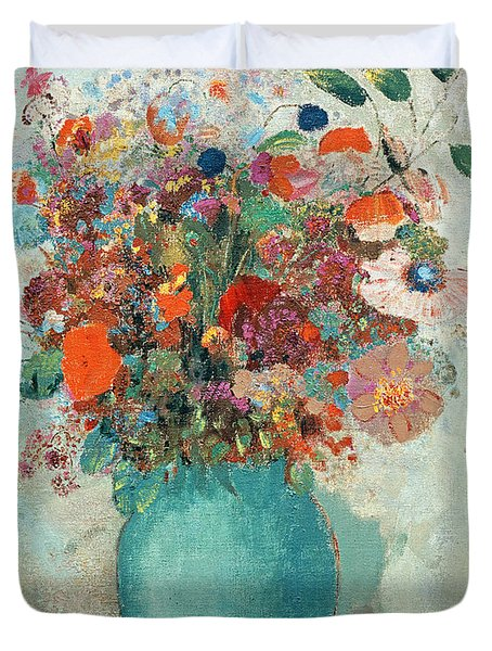 Flowers In A Turquoise Vase Duvet Cover by Odilon Redon