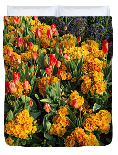 Flowers In Hyde Park, City Duvet Cover by Panoramic Images