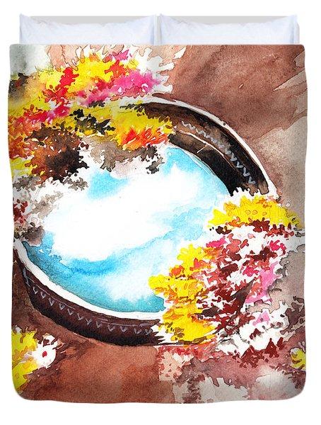Flowers N Sky Duvet Cover by Anil Nene
