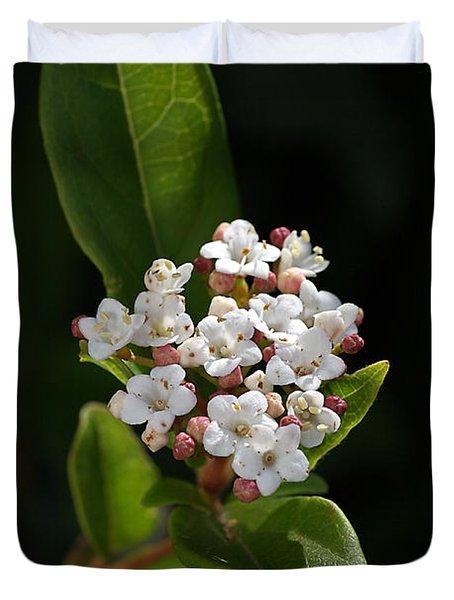 Flowers-tiny White Duvet Cover by Joy Watson