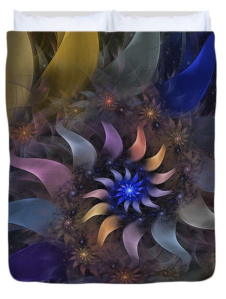 Flowery Fractal Composition With Stardust Duvet Cover by Karin Kuhlmann