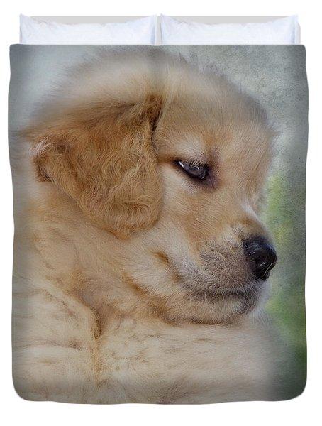 Fluffy Golden Puppy Duvet Cover by Susan Candelario