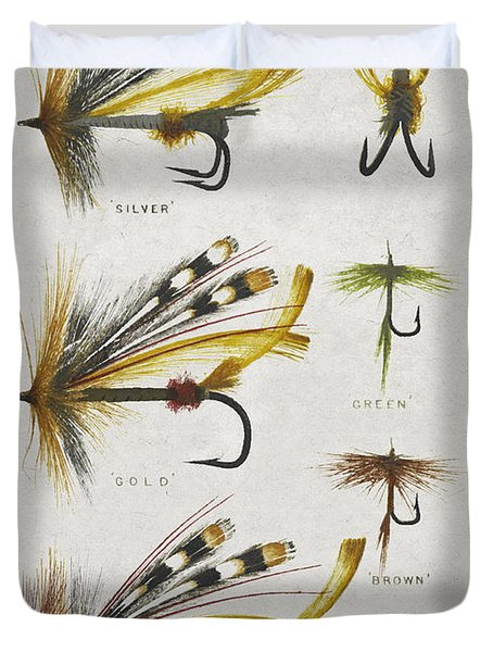 Fly Fishing Flies Duvet Cover by Aged Pixel
