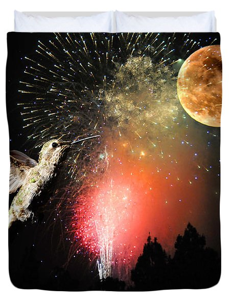Fly Me to the Moon Duvet Cover by Lynn Bauer