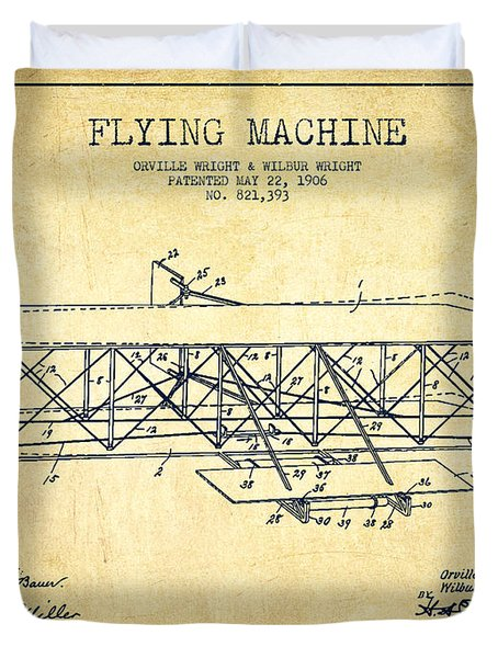 Flying Machine Patent Drawing From 1906 - Vintage Duvet Cover by Aged Pixel