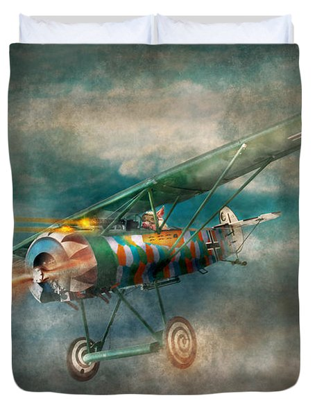 Flying Pig - Acts of a pig Duvet Cover by Mike Savad