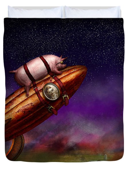 Flying Pig - Rocket - To The Moon Or Bust Duvet Cover by Mike Savad
