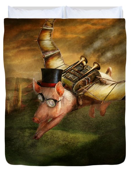 Flying Pig - Steampunk - The flying swine Duvet Cover by Mike Savad