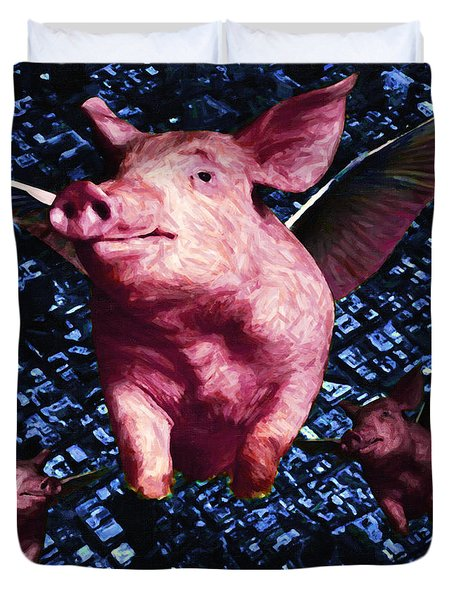 Flying Pigs Over San Francisco - square Duvet Cover by Wingsdomain Art and Photography