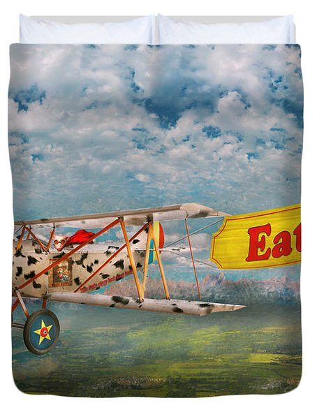 Flying Pigs - Plane - Eat Beef Duvet Cover by Mike Savad