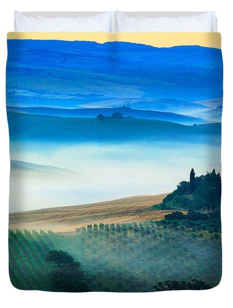 Fog In Tuscan Valley Duvet Cover by Inge Johnsson