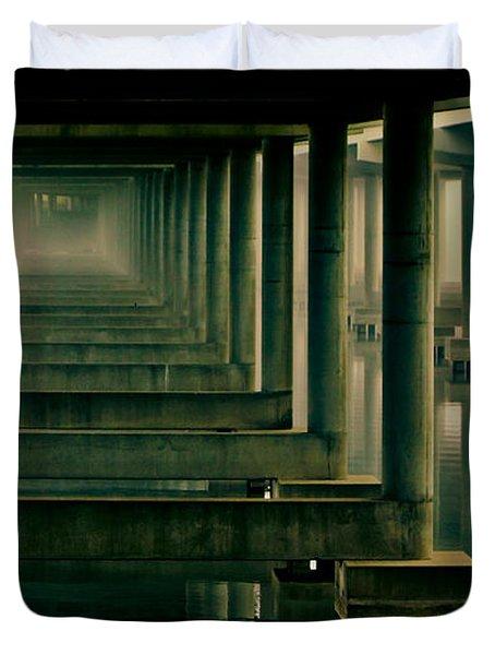 Foggy Morning Under Bridge Duvet Cover by Robert Frederick