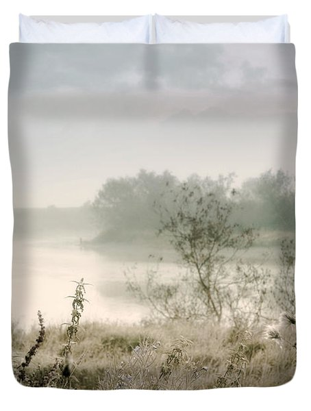 Fog Over The River. Stirling. Scotland Duvet Cover by Jenny Rainbow