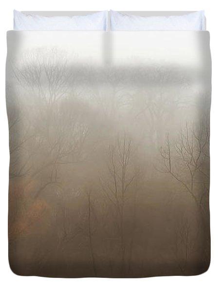 Fog Riverside Park Duvet Cover by Scott Norris